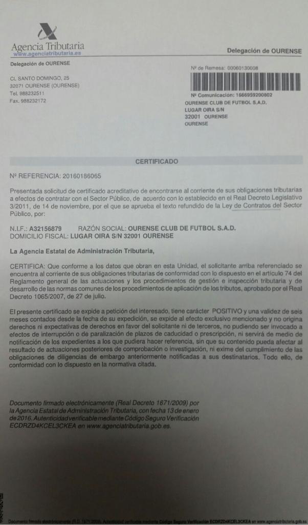 Comunicado Ourense CF