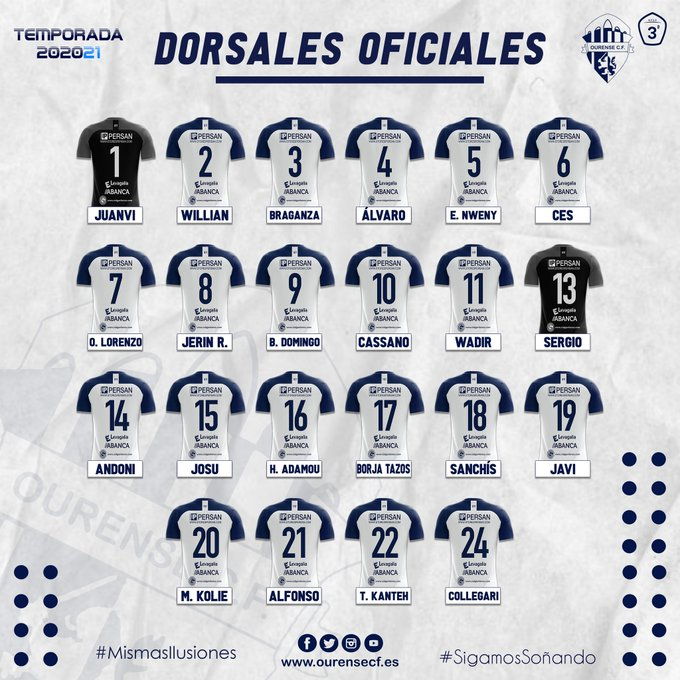 dorsales oficiales ourense cf 2020 2021